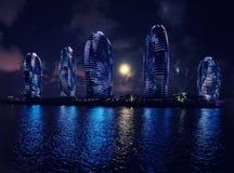 夜城市-三亚,海南 免版税库存照片