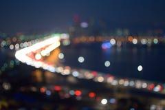 夜城市Bokeh  免版税库存图片