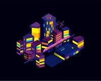 夜城市icometric风景 现代建筑学,大厦,摩天大楼 横渡轻的路轨地铁的火车 向量例证