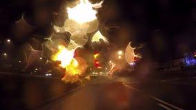 夜多雨城市驱动 股票录像