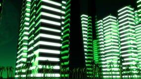 夜大都会夜场面  Loopable 绿色 影视素材