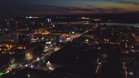夜大都会的顶视图 夹子 夜城市的明亮的光 股票视频