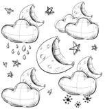 夜天气汇集 库存照片