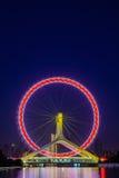 夜天津弗累斯大转轮,天津场面都市风景注视与 免版税库存图片