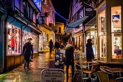 夜射击了-便宜的街道, Frome,萨默塞特 库存图片