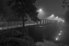 夜射击了一座桥梁在有雾的雷根斯堡 免版税库存图片