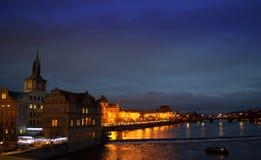 夜布拉格视图 免版税库存照片