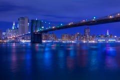 夜布鲁克林大桥 免版税库存图片