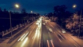 夜强烈的交通时间间隔录影 股票录像