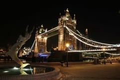 夜摄影-塔桥梁/伦敦 库存照片