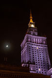 夜文化和科学视图宫殿在华沙在波兰 图库摄影