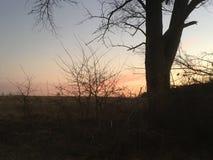 夜日落风景Stupava斯洛伐克 库存图片