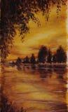 夜日落,伍兹湖 被反射的结构树水 免版税库存图片