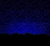 夜星天空和山 向量例证