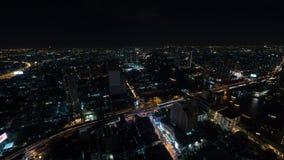 夜曼谷,有启发性城市全景  免版税库存照片