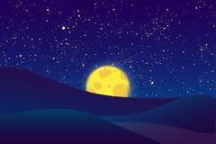夜月亮,在深蓝天空的光亮的星 库存照片