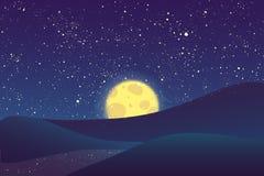 夜月亮,在蓝天的光亮的星 免版税图库摄影