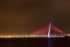 夜桥梁 库存照片