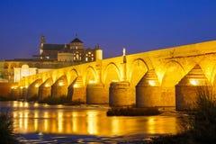 夜梅斯基塔和罗马桥梁在科多巴,西班牙 免版税库存照片