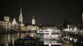 夜欧洲人城市的全景 影视素材