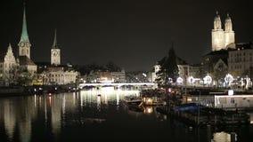 夜欧洲人城市的时间间隔 股票录像