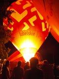 夜气球展示, NaÅ 'Ä™czà ³ w,波兰 免版税库存照片