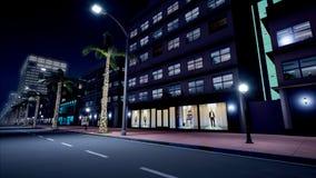 夜氖街道美好的场面  3d翻译 免版税库存图片
