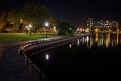 夜池塘在公园 库存照片