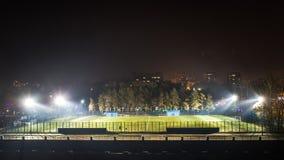 夜泛光灯的体育场在草发光 免版税图库摄影