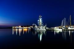 夜海游艇船坞 库存图片