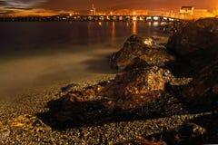 夜海滩颜色, El Zapillo,阿尔梅里雅 库存照片