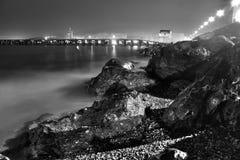 夜海滩, El Zapillo,阿尔梅里雅 免版税图库摄影