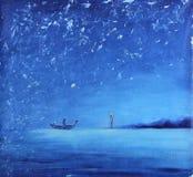 夜渔,油画 免版税库存图片