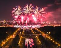 夜烟花节日在莫斯科 免版税库存照片
