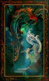 夜狂文 使用在管子的一个美丽的女孩的画象在夜间 在木头的油画 皇族释放例证