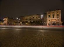 夜王宫的看法在斯德哥尔摩 瑞典 05 11 2015年 库存照片