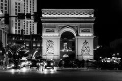 夜生活在拉斯维加斯 主路 黑白照片 库存照片