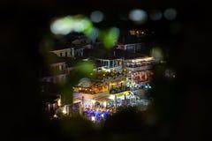 夜生活在Parga希腊 免版税库存图片