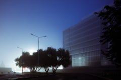 夜用雾盖的城市街道,被弄脏的城市l 免版税库存图片