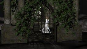 夜的不可思议的巫婆 在土窖里面的意想不到的公主 免版税库存照片