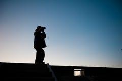 夜的摄影师在青海下湖的  库存图片