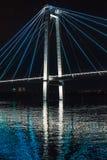 夜的桥梁的基础 免版税库存照片