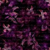 夜神奇花,手书面信件文本 黑色背景 无缝的模式 免版税库存照片