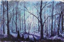 夜神秘的森林,油画 免版税库存照片