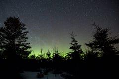 夜空和极光borealis在Perce 库存照片
