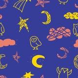 夜空猫头鹰云彩星无缝的重复样式设计 向量例证