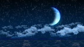 夜空的无缝的3d动画与云彩和流星光和巨型新月形月亮背景屏幕保护程序的 库存例证