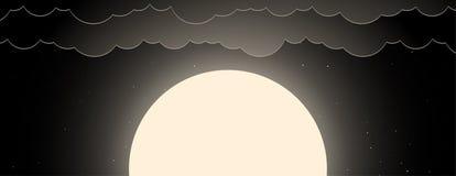 夜空背景与月亮、星和云彩的 向量例证