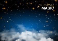 夜空魔术云彩 假日光亮的行动设计卡片 免版税库存照片