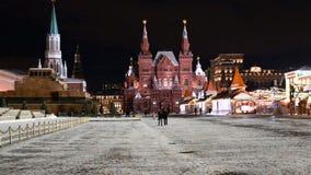 夜红场在冬天 影视素材